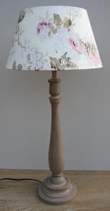 Lampvoet lever met kap van  creme linnen met rozen  compleet set