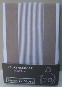 Schort linnen streep, zandkleur  per stuk