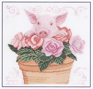 Varken in de rozen Piglet in the roses DMC  compleet set