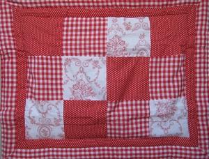 Quilt boxkleed toile de joue rood/wit  per stuk