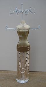 Bijoux Mannequin met kralen in goud/beige  per stuk