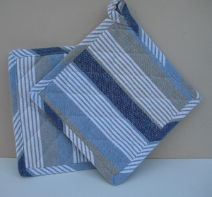 Pannenlap blauw linnen streep  per 2 stuks