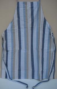Schort blauw linnen streep  per stuk