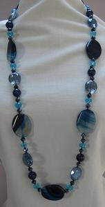 Ketting natuursteen met kristal blauw  per stuk