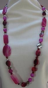 Ketting natuursteen met kristal roze  per stuk