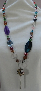 Ketting natuursteen met kristal meerder kleuren  per stuk