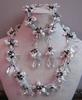 Set armband, ketting en oorbellen parel en kristal zwart/wit  compleet set