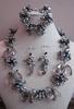 Set armband, ketting en oorbellen parel en kristal zwart/ant  compleet set