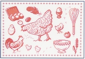 Rode kip Merklap (Poule sampler) compleet set