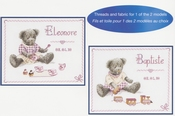 Geboortetegel beren (Tableau prenom les oursons) DMC compleet set