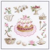 Grote taart met rozen (la charlotte a la rose) compleet set