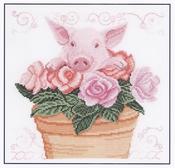 Varken in de rozen Piglet in the roses DMC compleet set