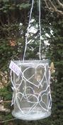 Windlicht glas met witte harten per stuk