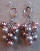Oorbellen hanger roze parel met kristal compleet set