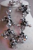 Armband zwart/antraciet met kristal per stuk